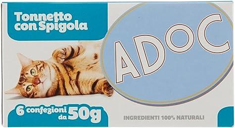 Adoc Naturale Tonnetto con Spigola per gatti adulti, 8 confezioni multipack da 6 pezzi