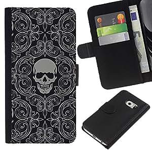 Samsung Galaxy S6 EDGE SM-G925 , la tarjeta de Crédito Slots PU Funda de cuero Monedero caso cubierta de piel ( Skull Wallpaper Grey Skeleton Head Pattern)