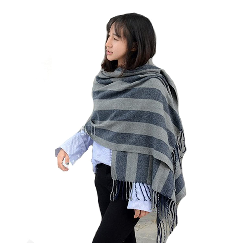 Women's Tartan Blanket Scarf Wrap Shawl Neck Warm Plaid Pashmina Tassels (Gray Black)