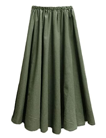 a86832f13 Soojun Women's Solid Cotton Linen Retro Vintage A-line Long Flowy Skirts,  ArmyGreen,