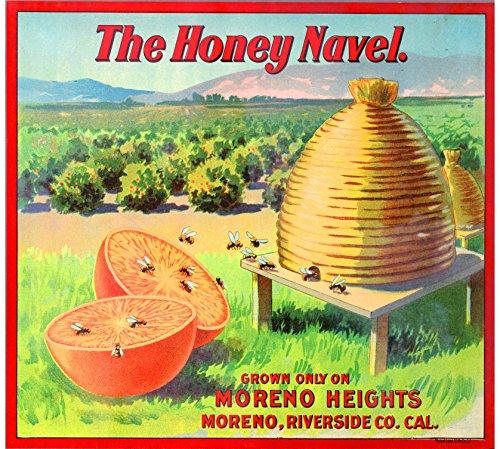 unty The Honey Brand Bee Bees Beehive Orange Citrus Fruit Crate Box Label Art Print (Fruit Crate Label)