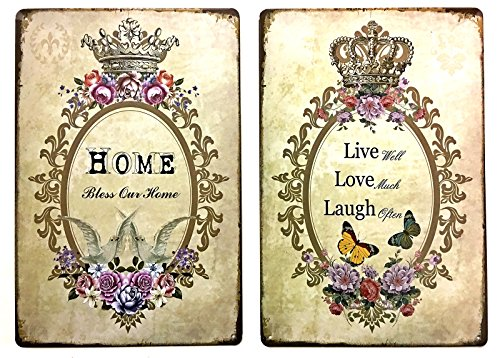 Home live love and laugh metal tin sign vintage art decor house