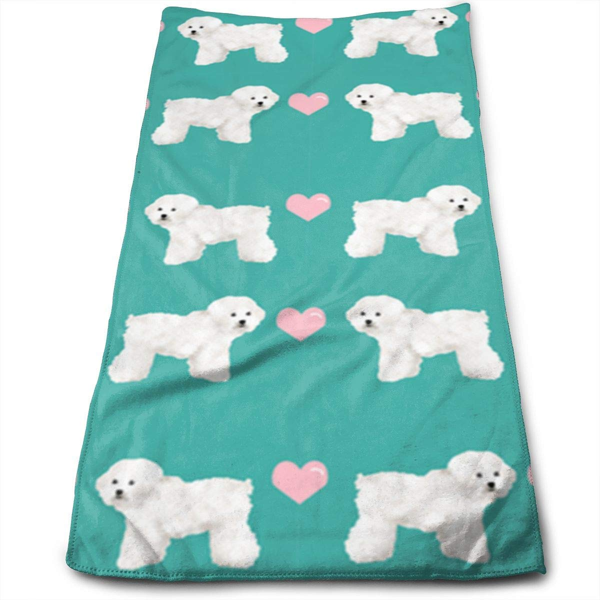 OQUYCZ Green Bichon Frise Fabric Soft Microfiber Large Hand Towel- Multipurpose Bathroom Towels for Hand, Face, Gym and SPA