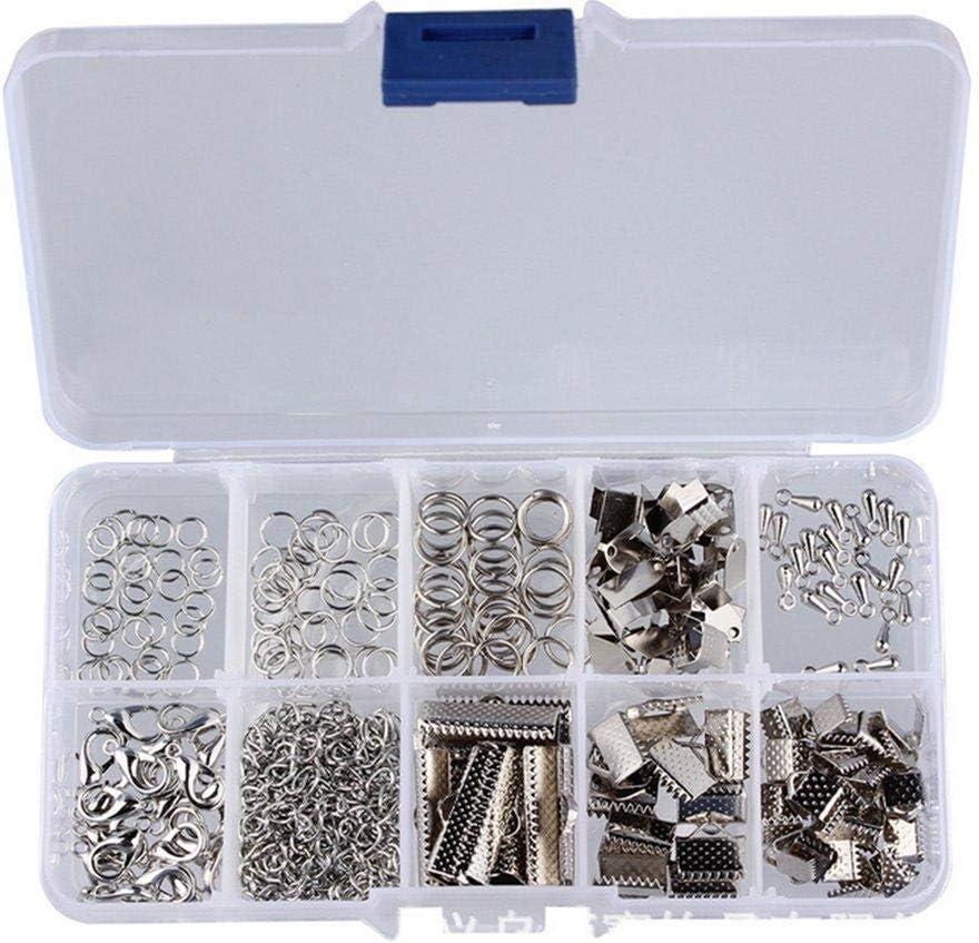 Depory - Juego de 200 cierres de mosquetón, extremos de cinta, anillas abiertas, accesorios hechos a mano de metal con caja de almacenamiento transparente (plata)