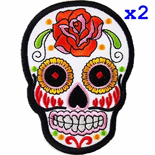 Pack of 2 White Novelty Iron on Skull Candy Embroidered Patch / Badge Motorcycle Biker -