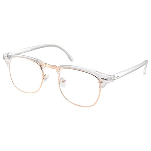 Amazon.com  Mens Non Prescription Glasses Clear Lens Frame Nerd Gold ... 23586d5ba