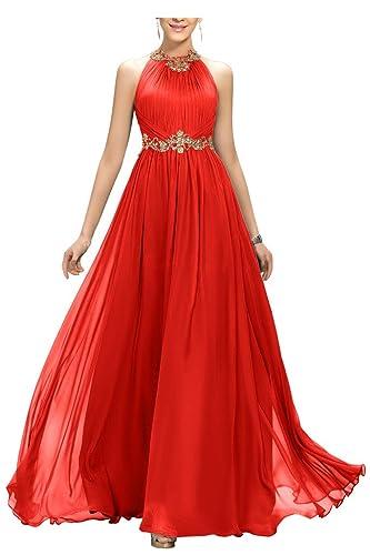 Ellames Beaded Long Chiffon Bridesmaid Dress Jewel Prom Evening Dress
