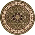 Well Woven Noble Medallion Green Persian Floral Oriental Formal Traditional 4 Round (311 Round) Area Rug Easy to Clean Shed Free Modern Contemporary Transitional Soft Living Dining Room Rug