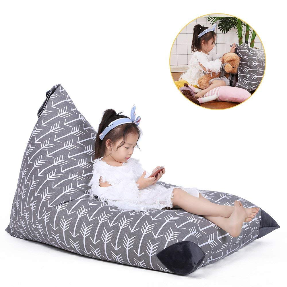 Stuffed Animal Storage Bean Bag Chair for Kids and Adults. Premium Canvas Stuffie Seat - Cover ONLY (Grey with White Arrows 200L/52 Gal) by Jorbest