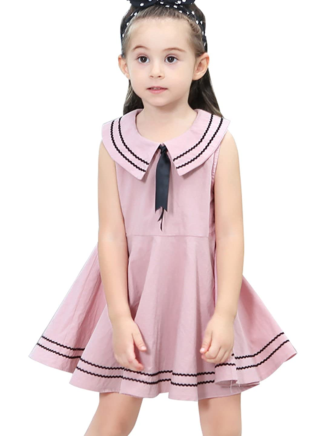 Happy Cherry Girl Casual Dress Navy Preppy Style Bowknot Summer Sleeveless Skirt