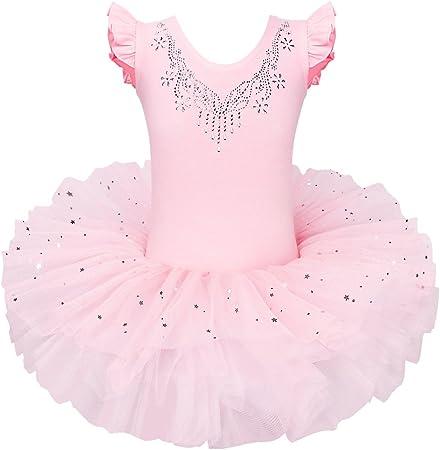 ZNYUNE Girls Ballet Dress Leotards Gymnastic Dance Tutu Skirt Dancewear Dress