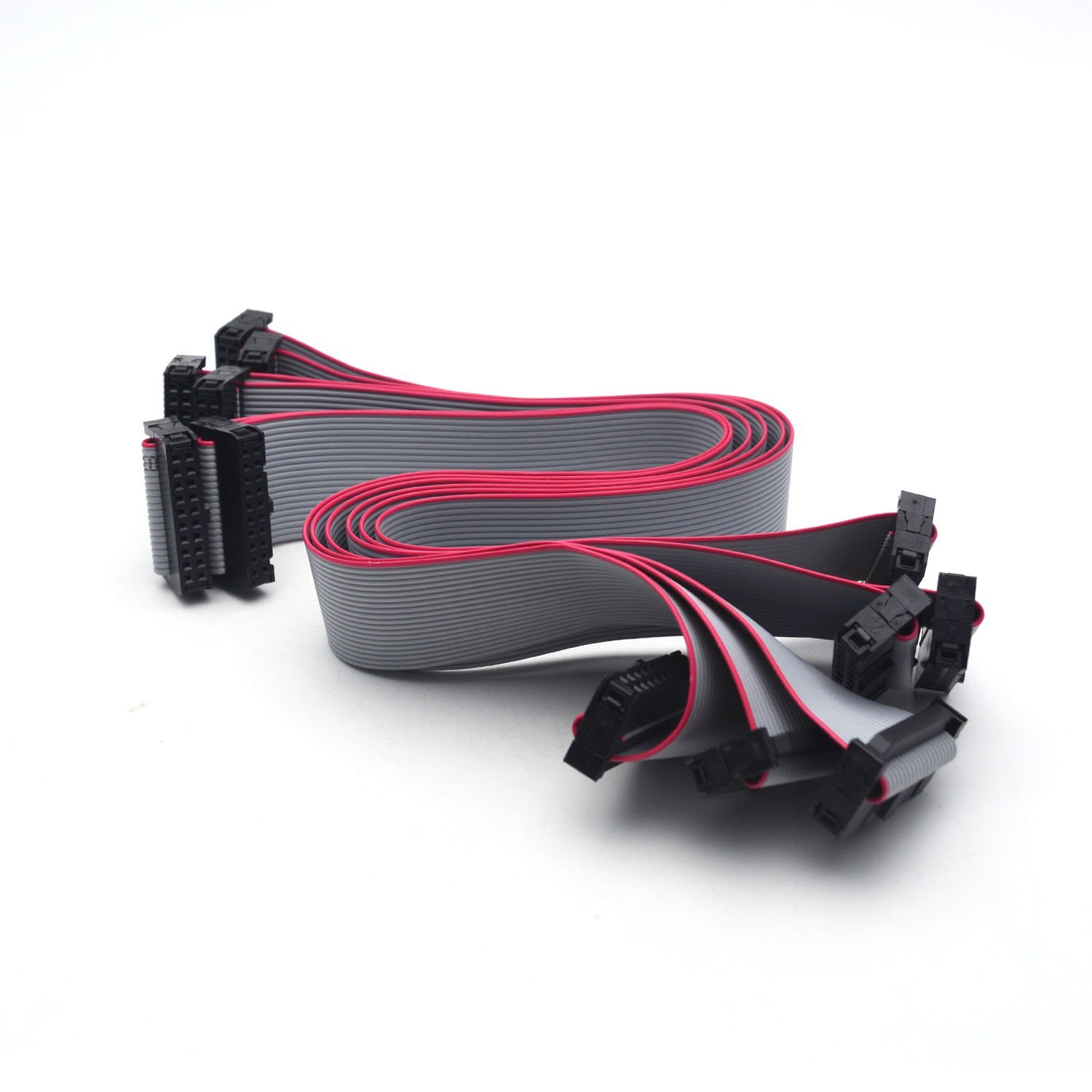 2x5 5-Pack 1ft. Female to Female 2.54mm-Pitch 10-wire IDC Flat Ribbon Cables