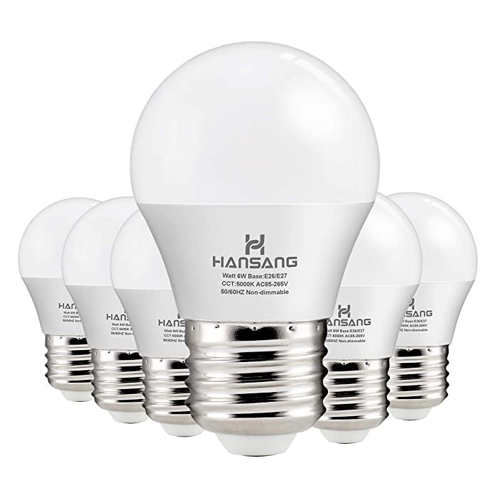 Hansang A15 LED Bulb Light 6 Watt (60w Equivalent),E26 Standard Base,5000K Daylight,600 Lumens,Frosted G45/A15 Bulb Shape,CRI>83,Ceiling Fan Light Bulb,Home Appliance Bulb,No Dimmable (6 Pack)