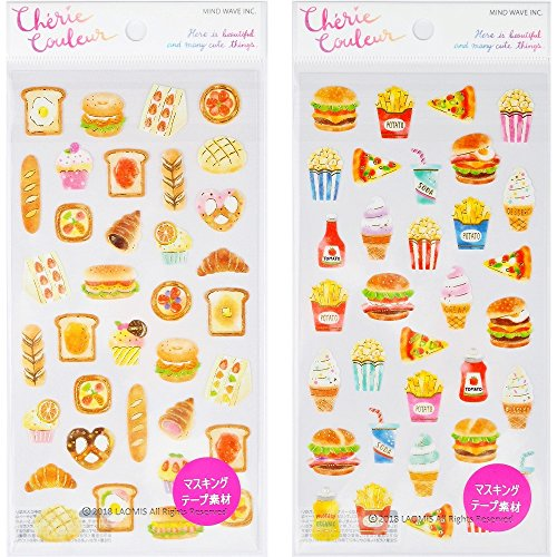 Mind Wave Japanese Masking Washi Foil Stamping Sticker Sheets (Bakery [ 78853 ] + Fast Food [ 78855 ] - 68 Stickers)