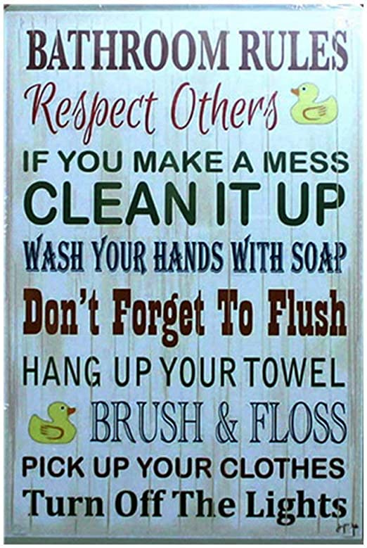 Bathroom Rules Novelty Metal Sign Wall Plaque Steel Poster 15 x 20 cm
