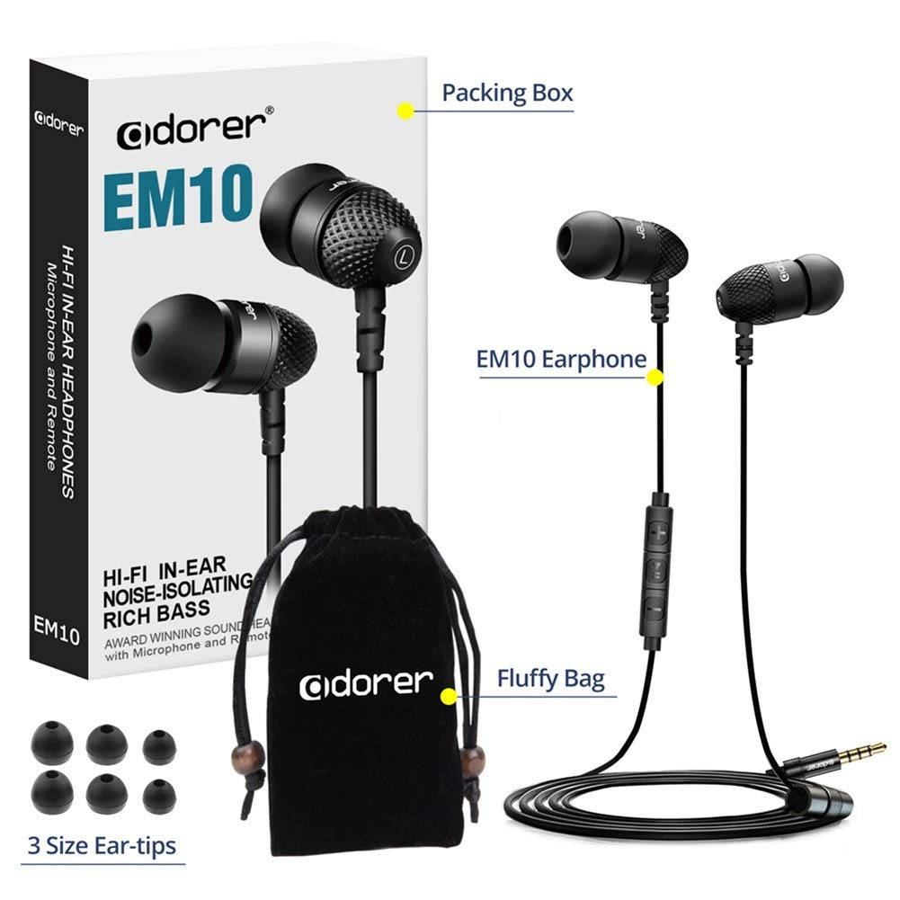 Wired Earphones Noise Isolating Earbuds Black Adorer EM10 Powerful Bass in Ear Headphones with Microphone and Volume Control