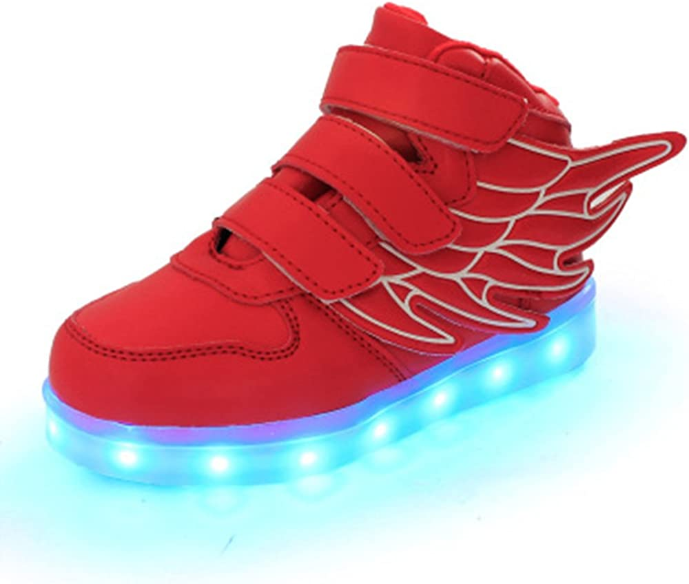 luckfugui Little Big Kid boy USB Flashing LED Shoes Sneaker Red32