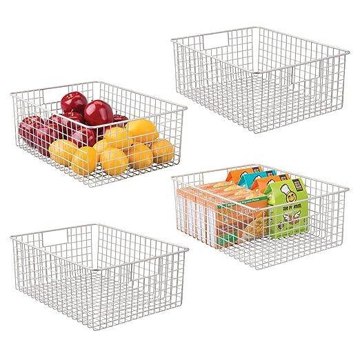 oficina o garaje Caja organizadora multiprop/ósito con asas para transporte Color: satinado Cajas de almacenaje multiuso mDesign ba/ño Cesta de almacenaje compacta para cocina