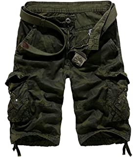 KLJR-Men Summer Camouflage Cotton Big /& Tall Cargo Shorts with Full Elastic Waist Army Green US XL