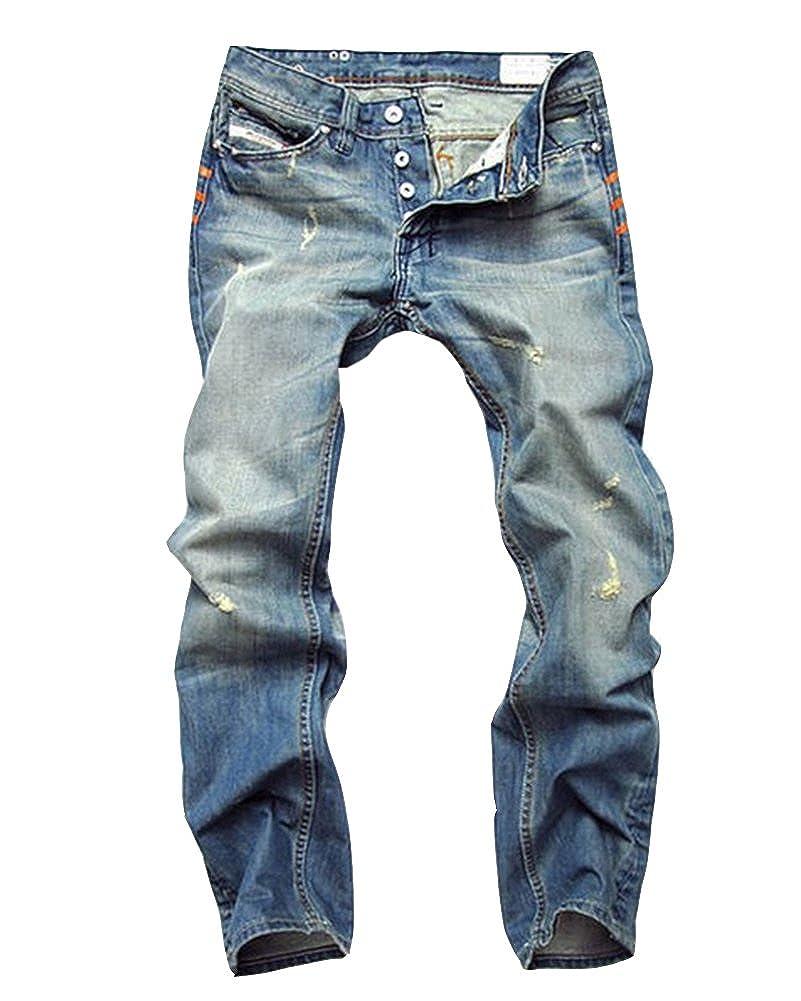 DianShao Uomo Rilassato Retro Denim Pantaloni Fori Strappati Jeans Tempo Libero