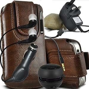 ONX3 HTC Desire 700 Leather Slip protectora magnética de la PU de cordón en la bolsa del lanzamiento rápido con Mini capacitivo Stylus Pen retráctil, 3.5mm en auriculares del oído, mini altavoz recargable Cápsula, Micro USB CE aprobó 3 Pin Cargador 12v Micro USB cargador de coche ( Brown)