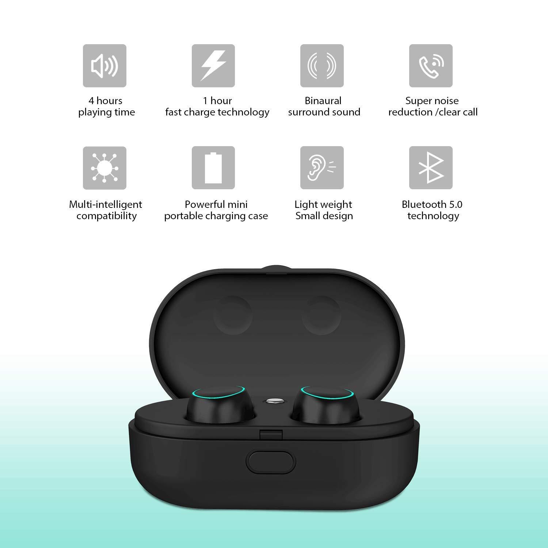 Holyhigh Auricolari Bluetooth Wireless Cuffie Sport Bluetooth V5.0 Mini  Stereo Cuffie Wireless Senza Fili con Stazione di Ricarica e Microfono  Incorporato ... 6986b22bf61b