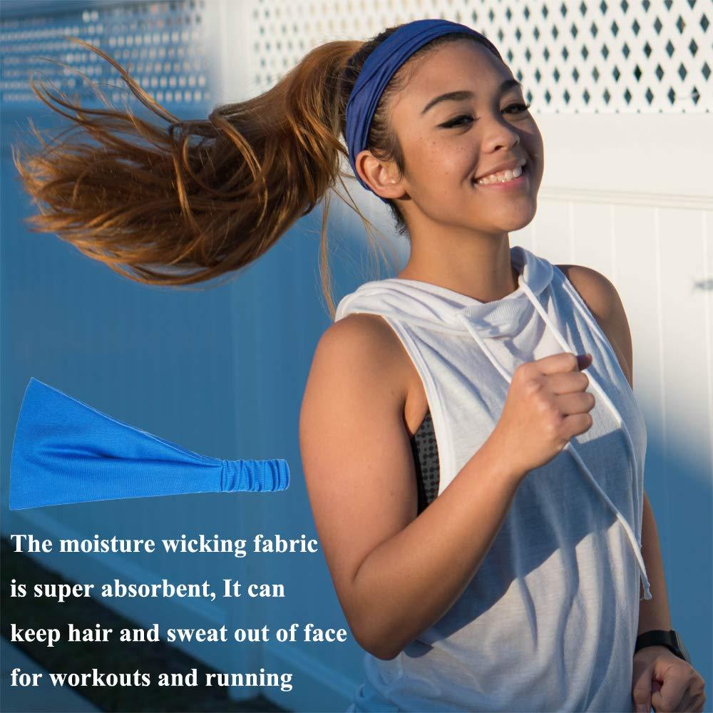 QING Headbands for Women Sweat Wicking Scarf Bandana Workout Headband Wrap Pack of 6