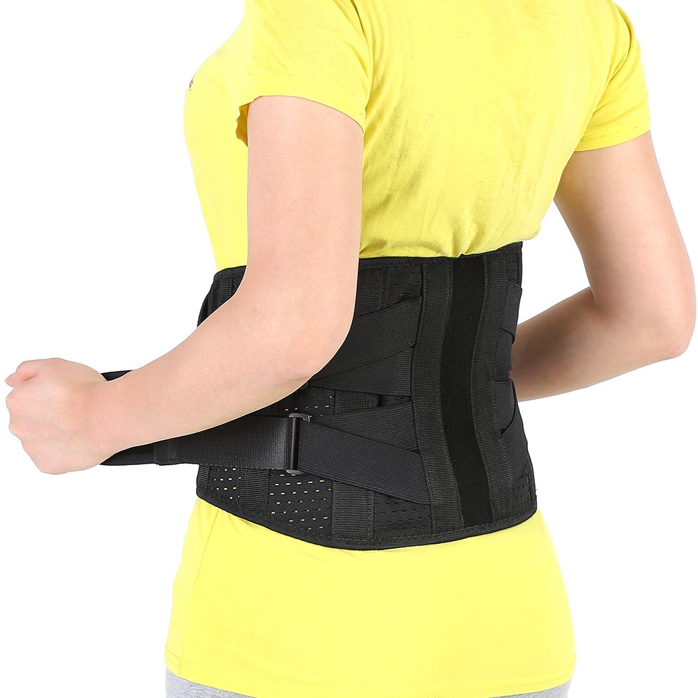 Adjustable Lumbar Support Belt Lower Back Brace Posture Corrector Waist Wrap for Sciatica Back Pain Relief Postpartum Abdomen Shaping for Heavy Lifting, Workout, Fitness, Women Men (L (35.4''-43.3''))
