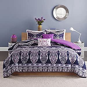 lea 6 8 comforter set in purple white bed bath 5 navy blue purple medallion theme 794