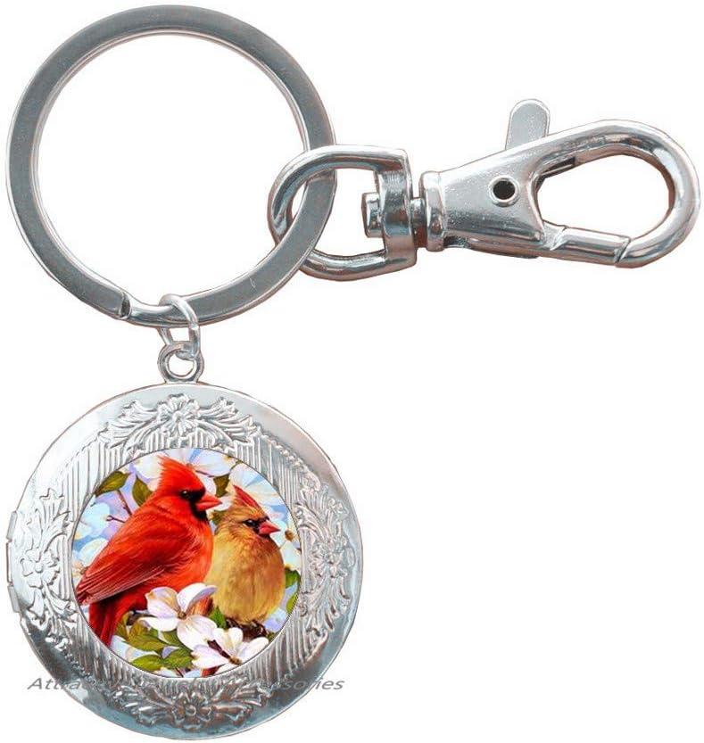 Red Bird Lover Gift,QK0O96 Cardinal Art Key Ring Bird Watcher Handcrafted Cardinal Locket Keychain Gift for Mom Wife Grandmother