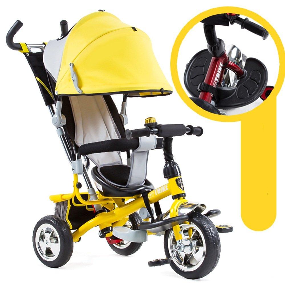 HAIZHEN マウンテンバイク 4色とEVAタイヤ付きの1つの簡単な三輪車の子供のトライクで4 新生児 B07CG74W9V イエロー いえろ゜ イエロー いえろ゜