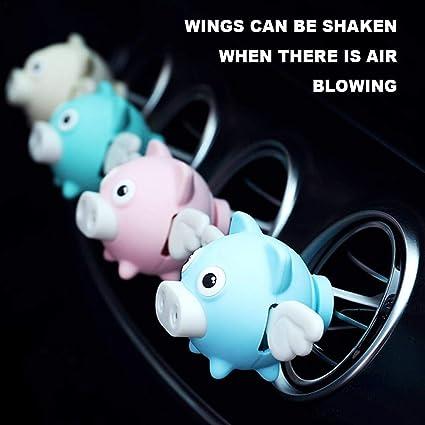 Wonderfulwu 1 X Auto Lufterfrischer Dekoration Parfüm Süßes Fliegendes Schwein Duft Für Den Innenraum Lüftungsschlitz Halter Behälter Blau Küche Haushalt
