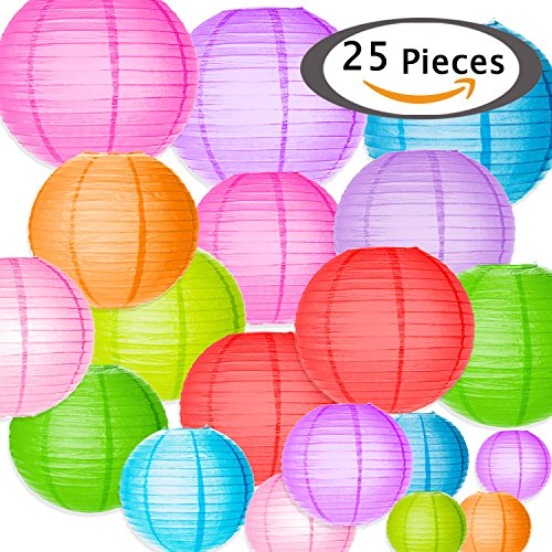 Selizo 25 Packs Paper Lanterns Decorative with Assorted Colors and Multi Sizes for Party Decoration