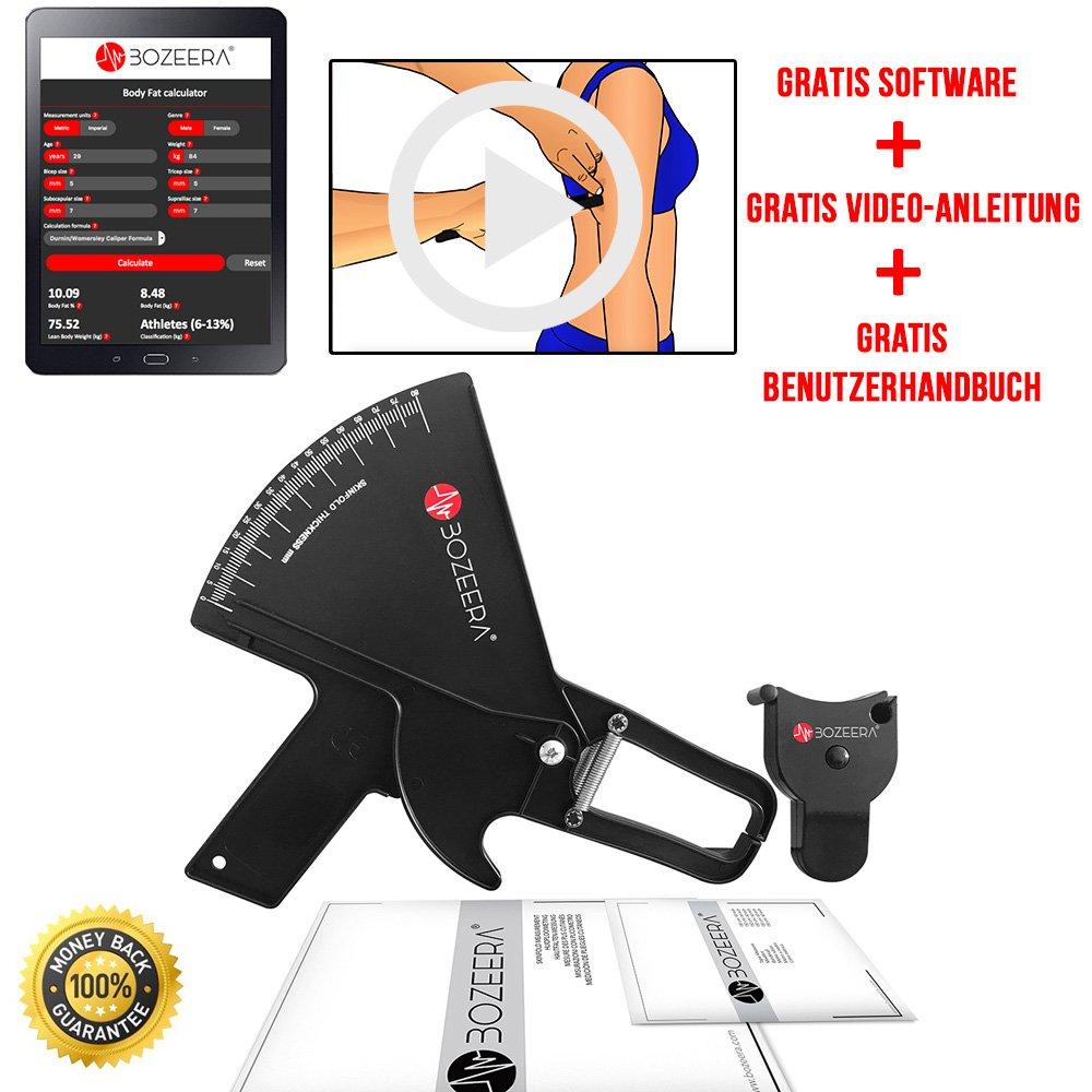 [PLICÓMETRO PROFESIONAL Y CINTA MÉTRICA ANATÓMICA] - Medidor de grasa corporal PRO y cinta corporal - Incluye software GRATIS, vídeo tutorial y manual de ...