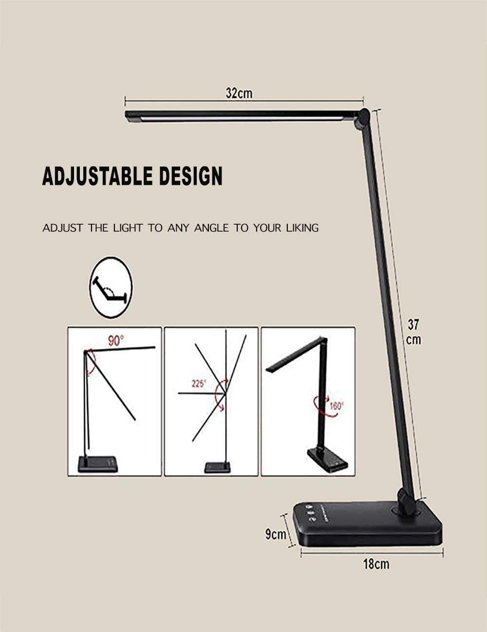 Timer Function LED Desk Lamp Black Eye-Caring Table Lamp with USB Charging Port Touch Control School Office Use Memory Function for Home 5 Lighting Modes with 10 Brightness Levels