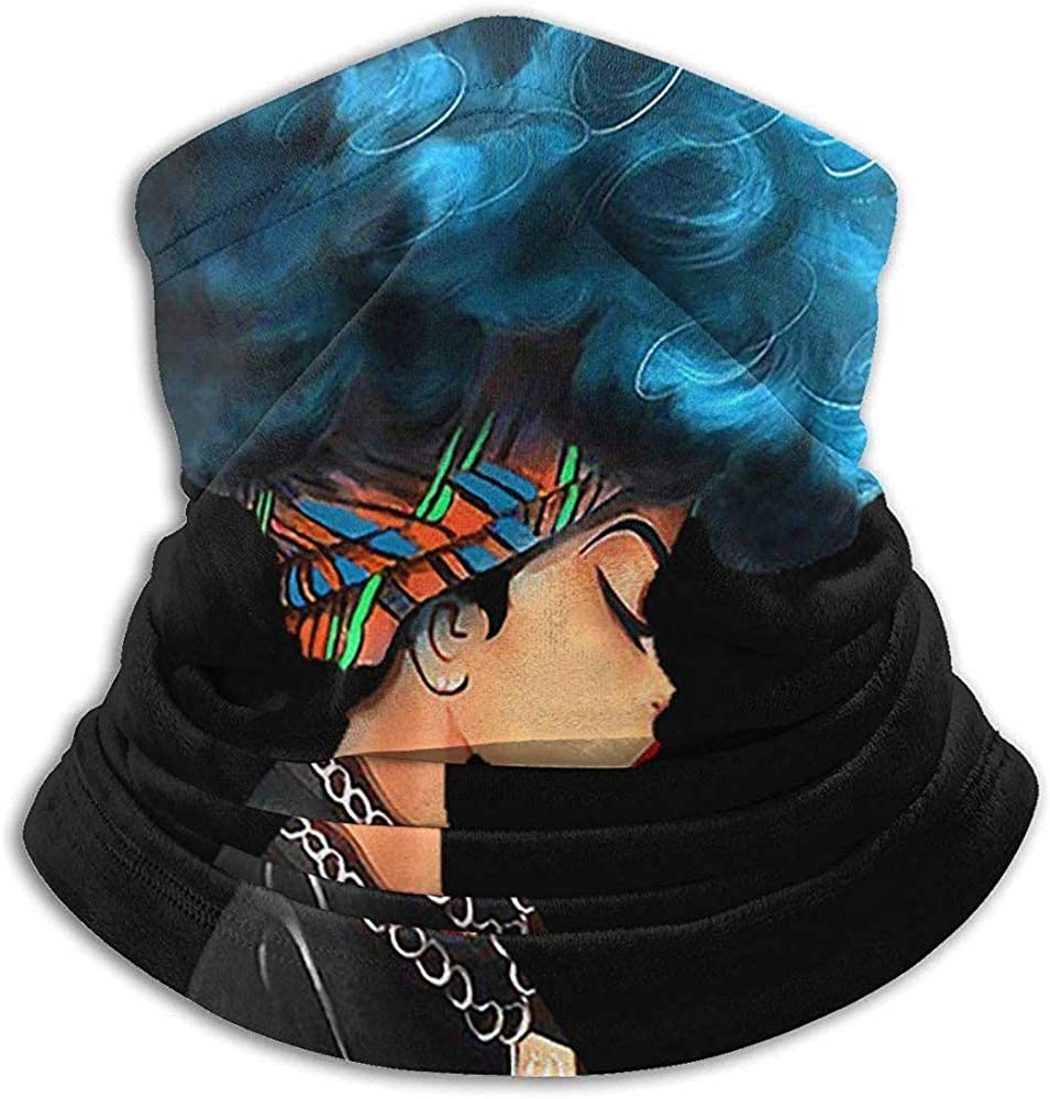 Unisex Afro Girl African American Winter Neck Warmer Gaiters Hairband Cold Weather Tube Face Mask Thermal Neck Scarf UV Protection Party Cover