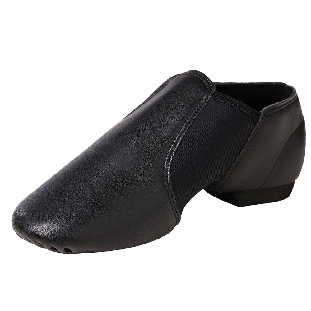 STELLE Slip-on Jazz Shoes for Girls Women Toddler Boys Men Teens, Black