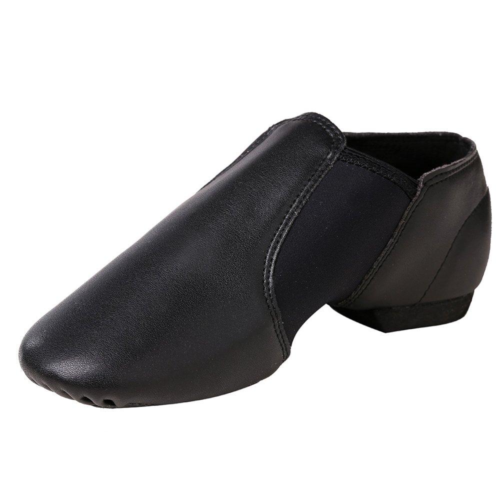 STELLE Slip-on Jazz Shoes Women Men Teens (Women/Big Kid 5M, Black)