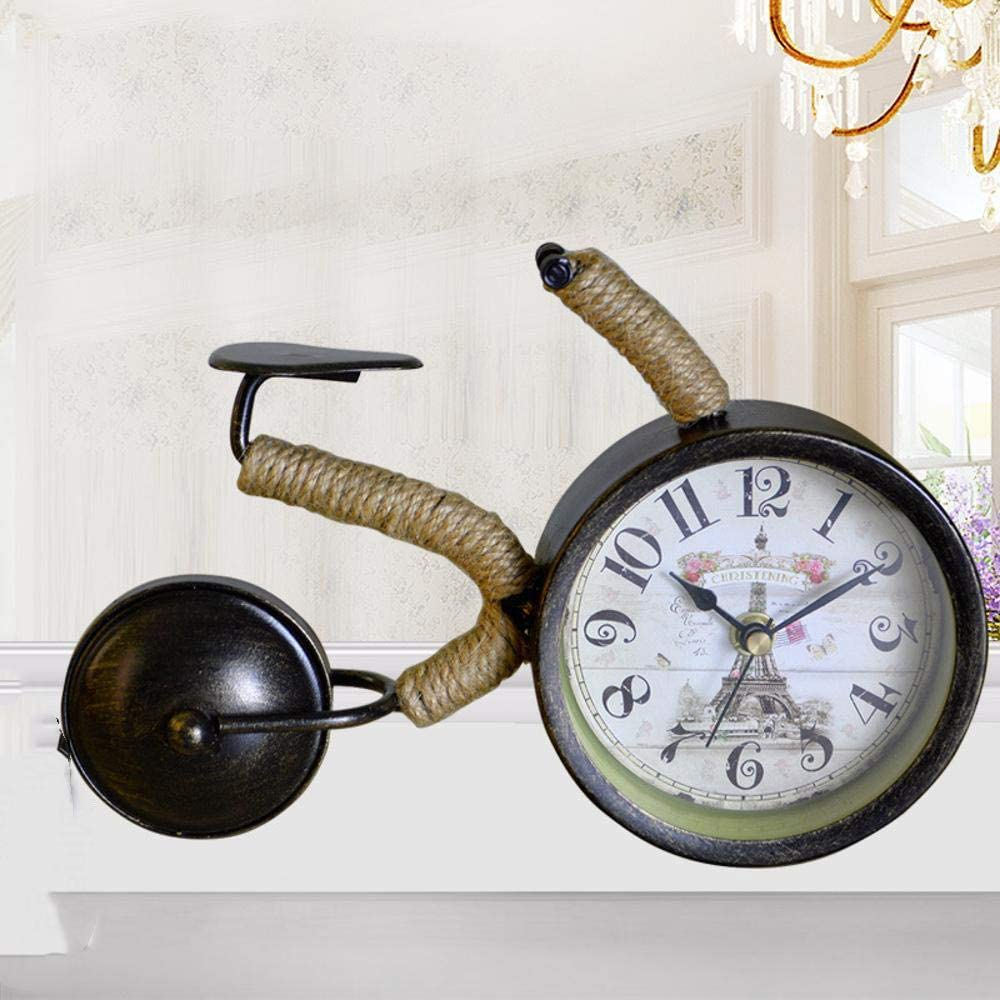 irugh Relojes de Chimenea,Antiguo Hierro Mudo Reloj salón Creativo Reloj Retro Reloj Decorativo 21 * 33 * 15 cm