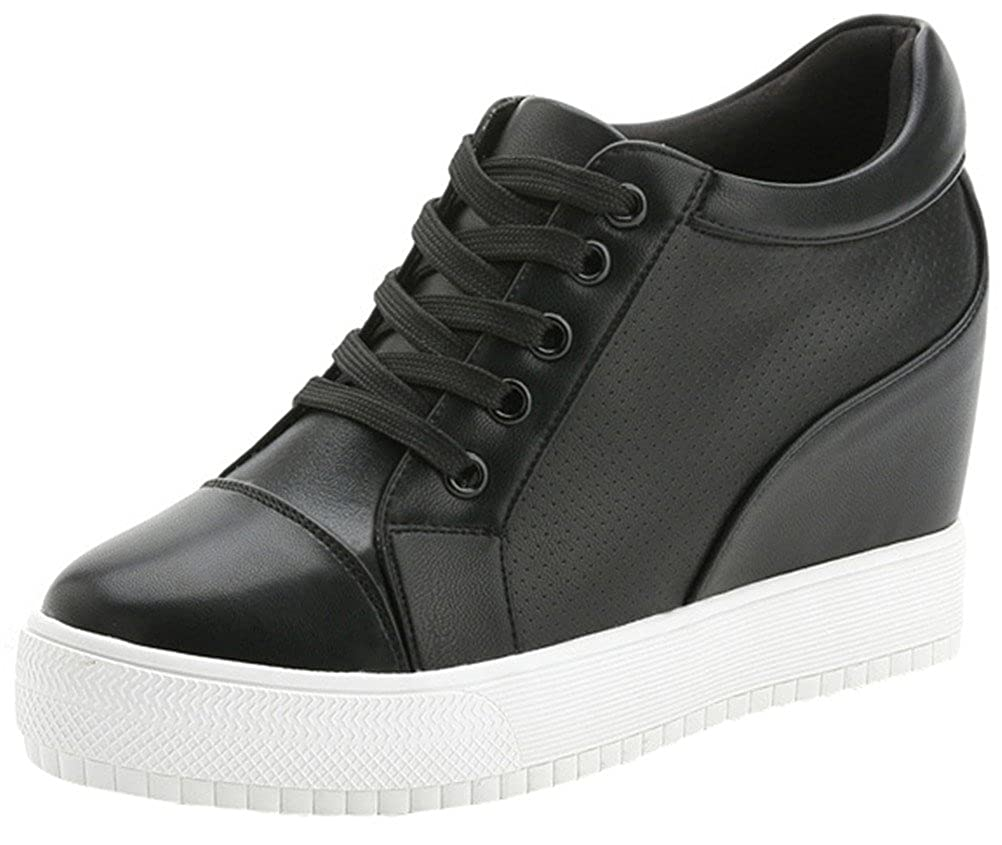 10be6c7306c19 Women's High Top Wedge Fashion Sneakers Hidden Heel Platform Casual Shoes