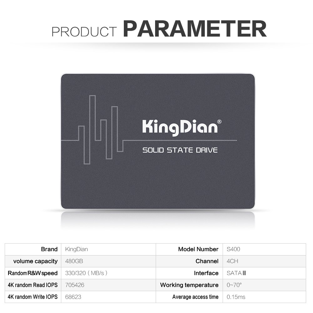 KingDian New 2.5 inch 480GB SSD 512M Cache Solid State Drive for Desktop PCs and MacPro(S400 480GB)