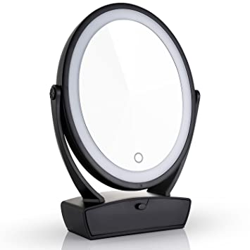 Lighted Magnifying Makeup Mirror 15x.Amazon Com Miusco Two Sided Lighted Makeup Mirror With