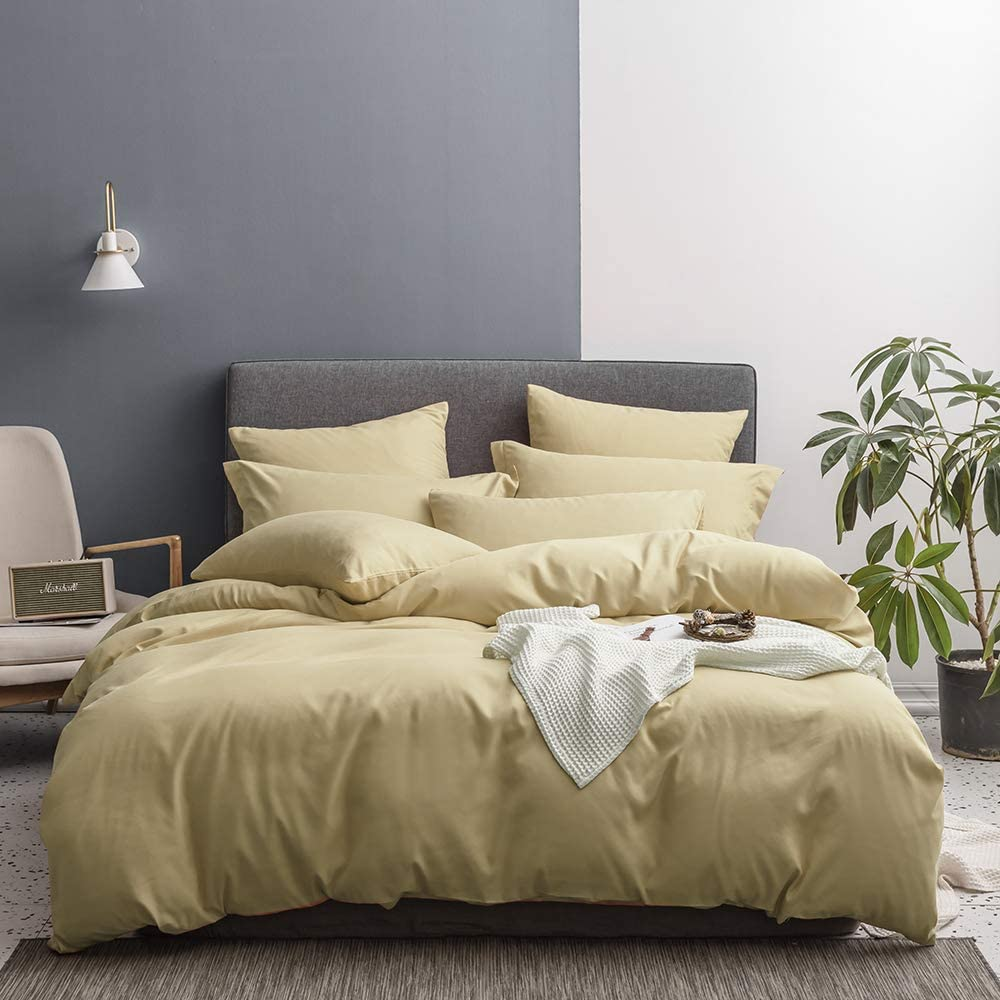 Lausonhouse Duvet Cover Set,Ultra Soft Brushed Microfiber Hotel Collection 3 Pieces Bedding Set-Comforter Cover with 2 Pillow Shams, Gold -Full/Queen