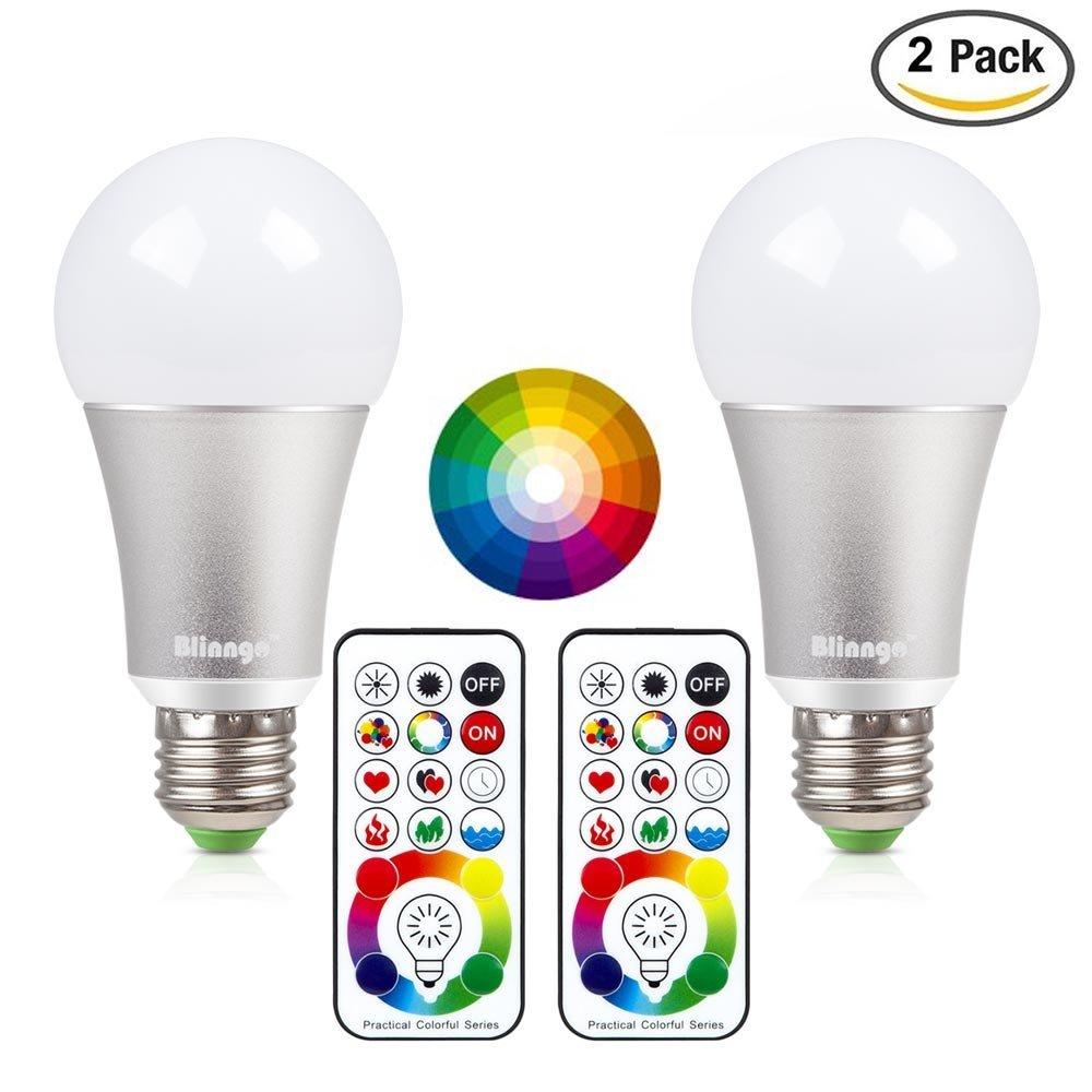 Blinngo LED Bombilla RGBW con Control Remoto de E27-10W de multi-color de Funció n de Temporizació n luz Iluminació n Luminosa Pack-2 Decoració n para Casa/Bar/Fiesta/KTV Ambiente