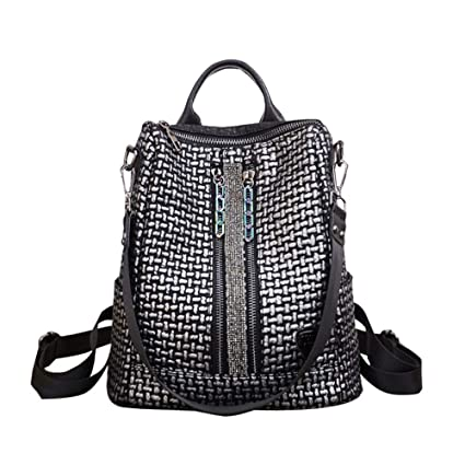 Amazon.com: KJVHJN Colorful Chain Retro Backpack Female Wild Diamond-Studded Soft Leather Womens Backpack College School Bag (Color : Silver, ...
