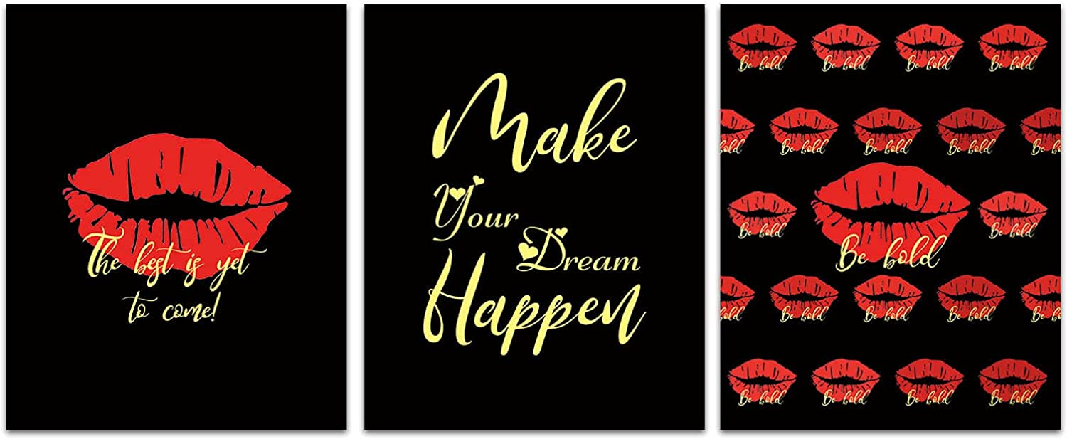 """Modern Art Inspirational Quotes Early 2000s Black Red Lips Posters Art Painting Set of 3 (8""""X10"""" Canvas Picture) Bathroom Bedroom Cloakroom Living Room Spa Wall Decor Art Prints Bathroom cloakroom friend woman birthday valentine's day gift"""