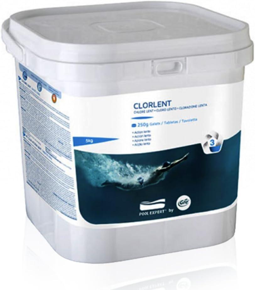 Gre Cloro Lento en tabletas de 250 g (5 kg), Blanco, 19x19x18.5 cm ...