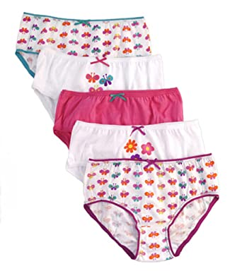 3bf30d5b5bbb Girls 5 Pack Knickers / Briefs Butterfly Pattern: Amazon.co.uk: Clothing