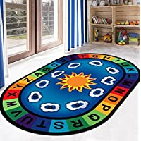 USTIDE Baby Play Mat, Easy Clear, Nonslip Floor Rugs for Kids Room/Living Room Baby Crawling Mats Colorful Area Rugs 47x78