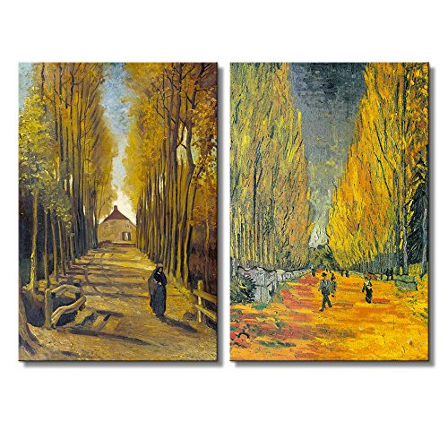 Les Alyscamps (Avenue in Arles) Avenue of Poplars in Autumn by Vincent Van Gogh Oil Painting Reproduction in Set of 2 x 2 Panels